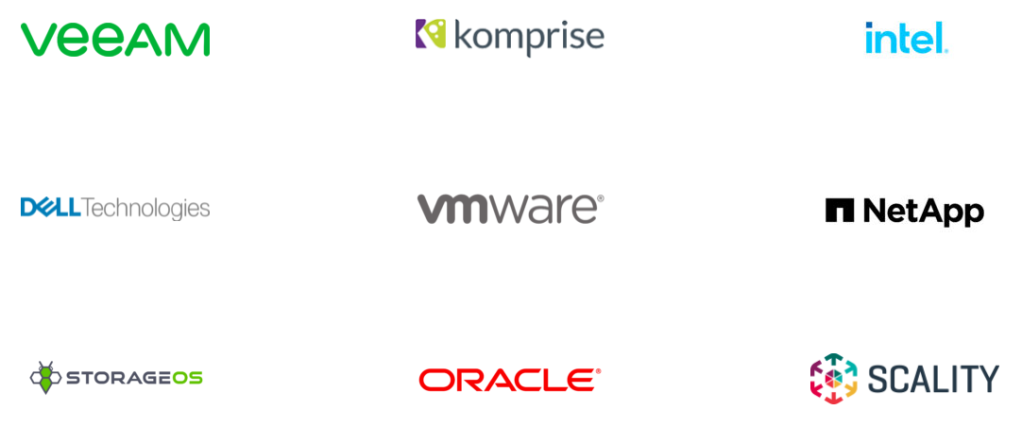veeAM  DOLL-Technologies  STORAGEOS  komprise  vmware  ORACLE  intel  n NetApp  SCALITY